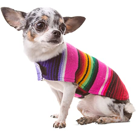 BAJA PANCHOS DOG PONCHO FROM MEXICAN SERAPE BLANKET PINK