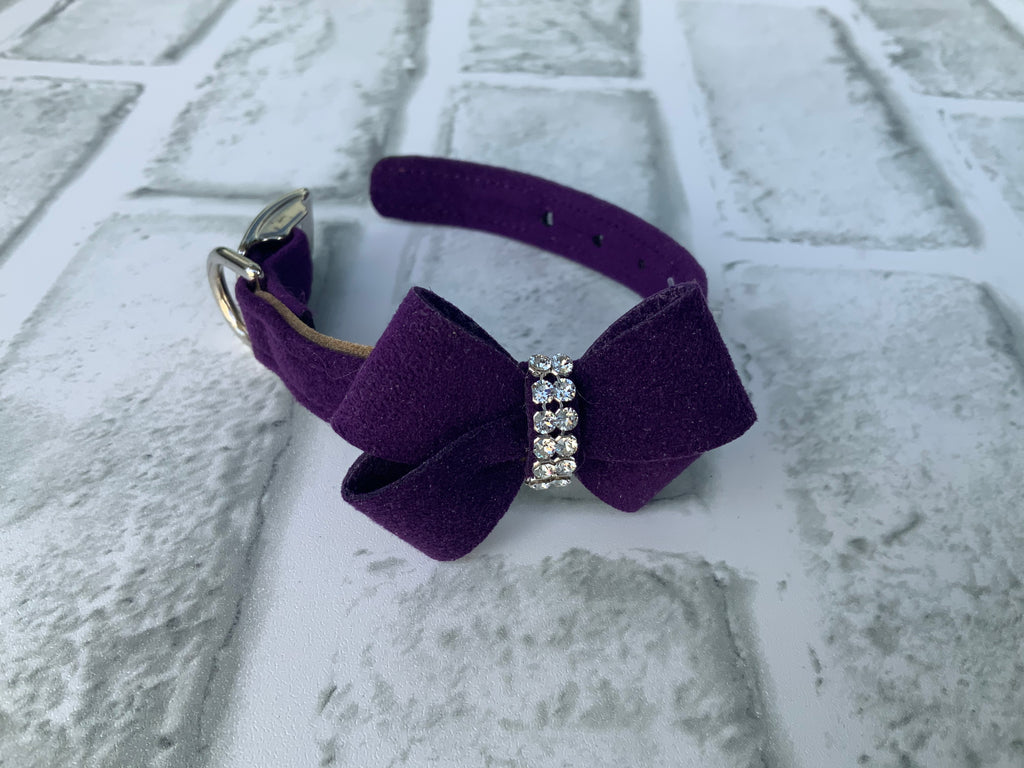 SUSAN LANCI PURPLE COLLAR W/ PURPLE NOUVEAU BOW