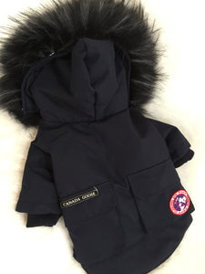CANADA GOOSE DOG COAT WITH FUR NAVY