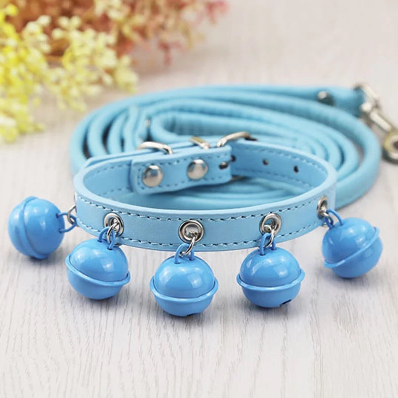 Bells Bells Bells Collar and Leash Set-Light Blue