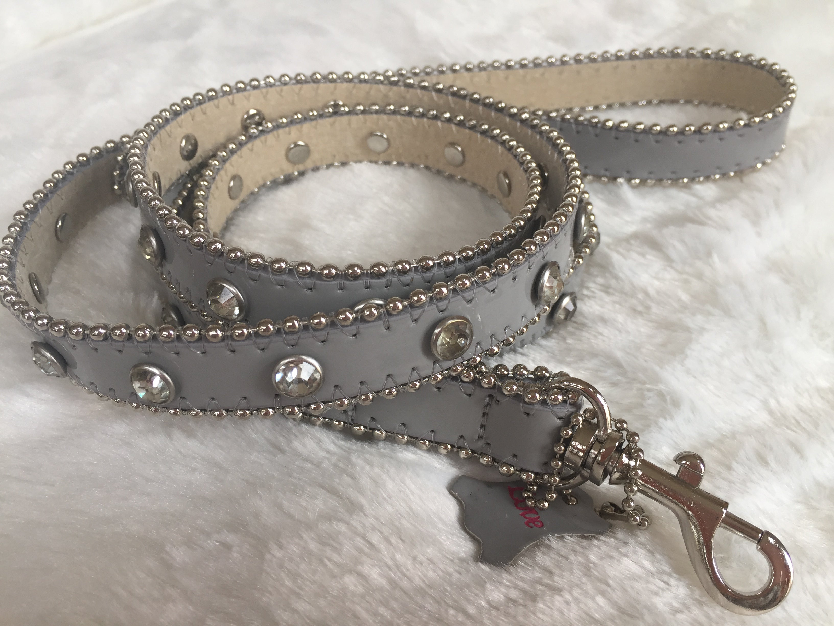 BLING LEATHER LEASH PLATINUM