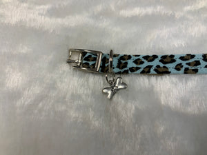 Susan Lanci Collar w/Bone Charm Tiffi Blue Cheetah