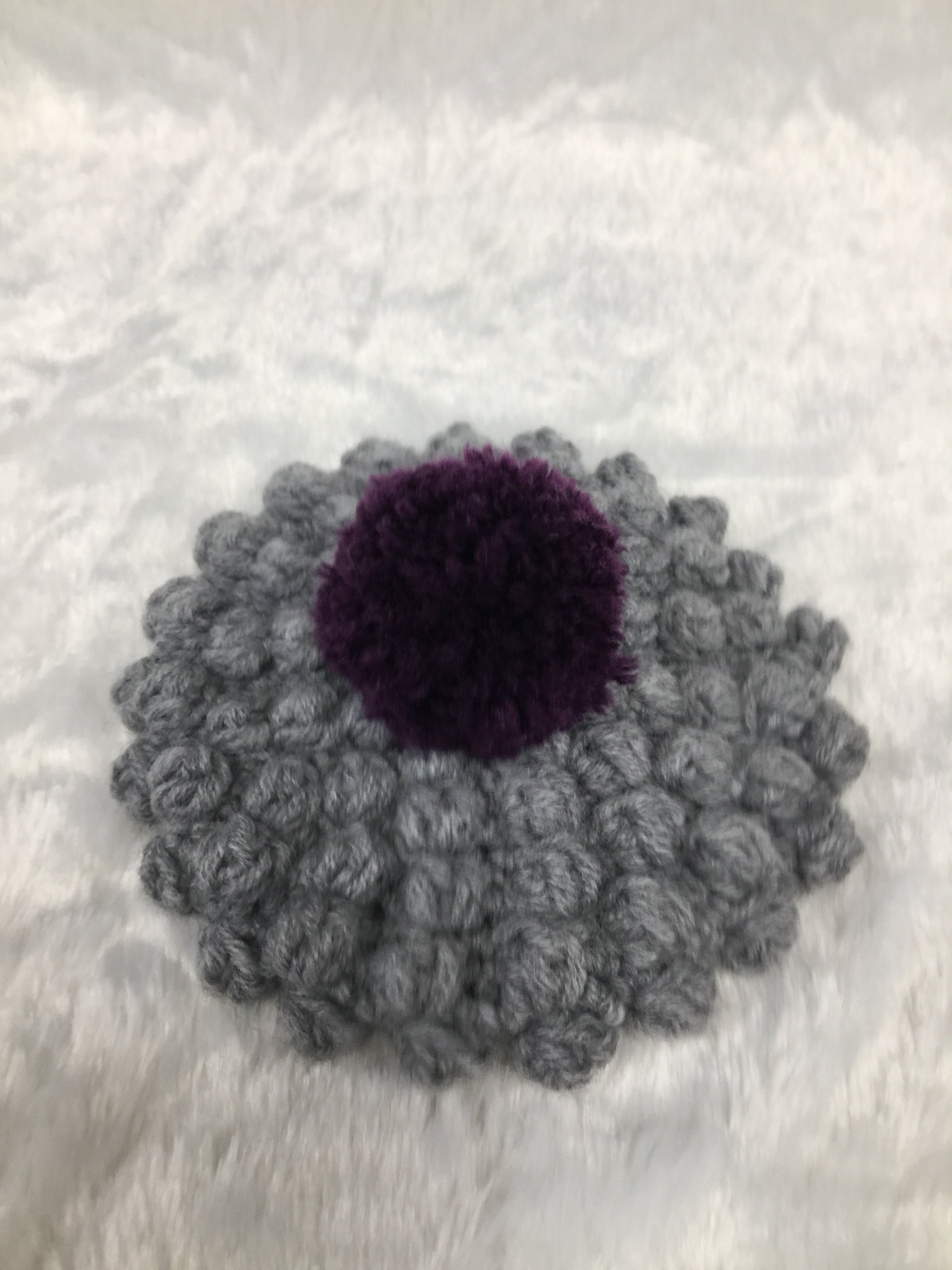 HANDKNIT GREY RUSSIAN BERET W/PURPLE BON BON