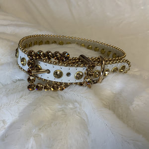 BLING LEATHER COLLAR WHITE W/GOLD CRYSTALS