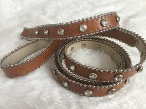 BLING LEATHER LEASH LATTE