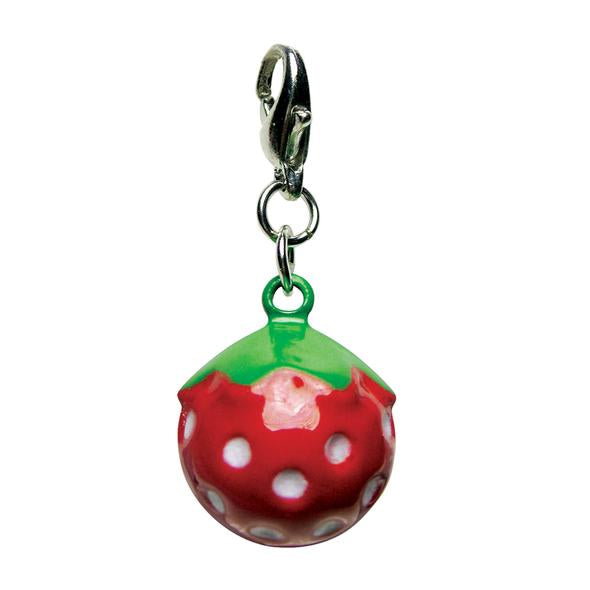 KLIPPO PET POLY 3-D YUMMY STRAWBERRY METAL JINGLE BELL CHARM
