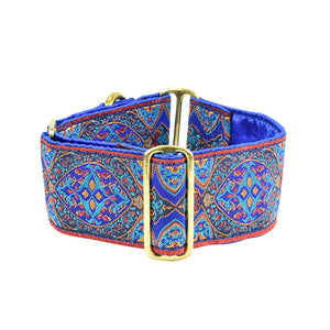 "2 HOUNDS DESIGNS ARISTOCRACY BLUE  2"" WIDE MARTINGALE COLLAR"