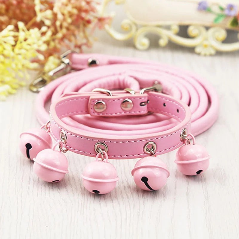 Bells Bells Bells Collar and Leash Set-Light Pink