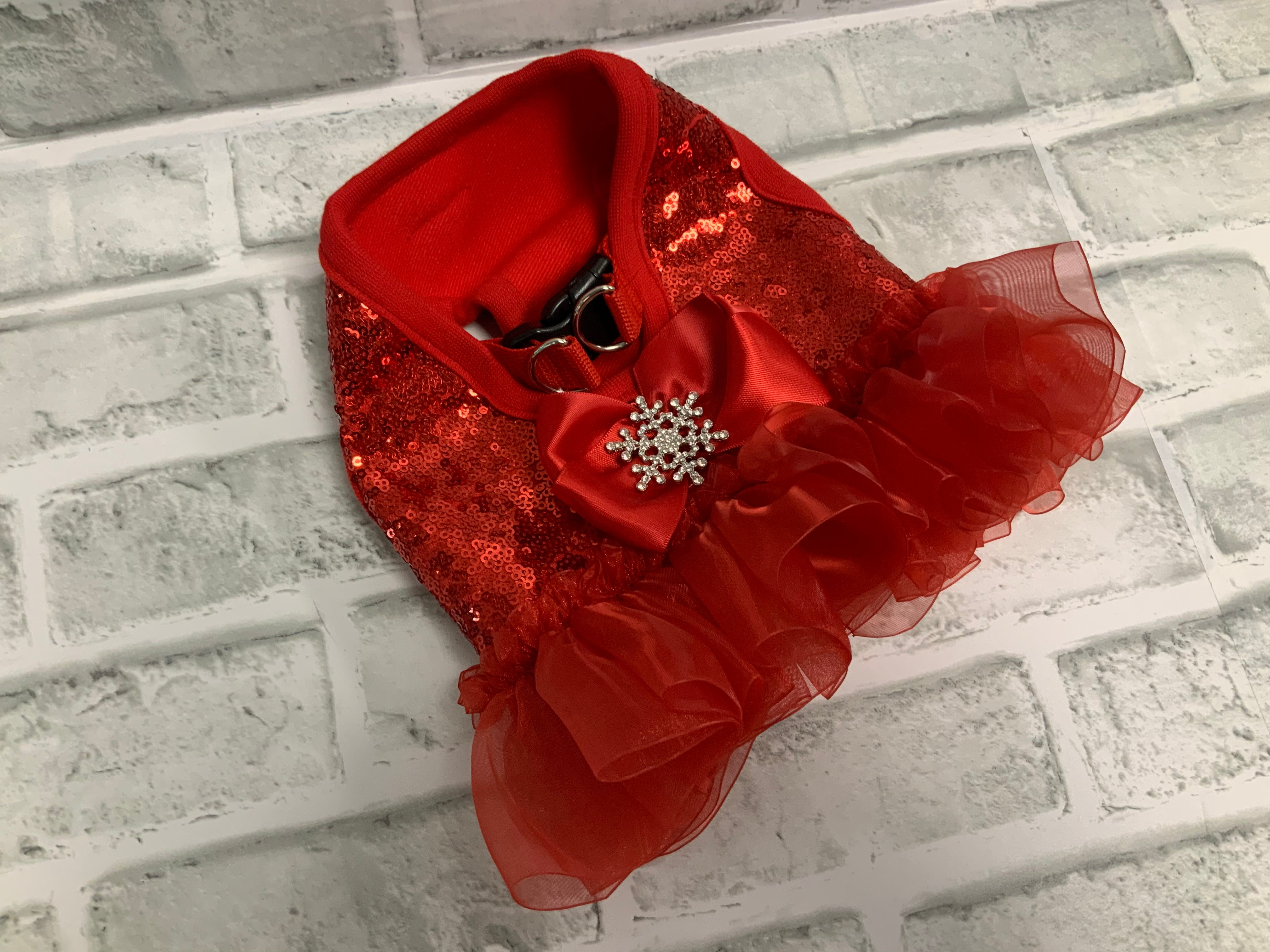 HOLIDAY  RED SEQUIN HARNESS WITH SNOWFLAKE WITH RED RUFFLE