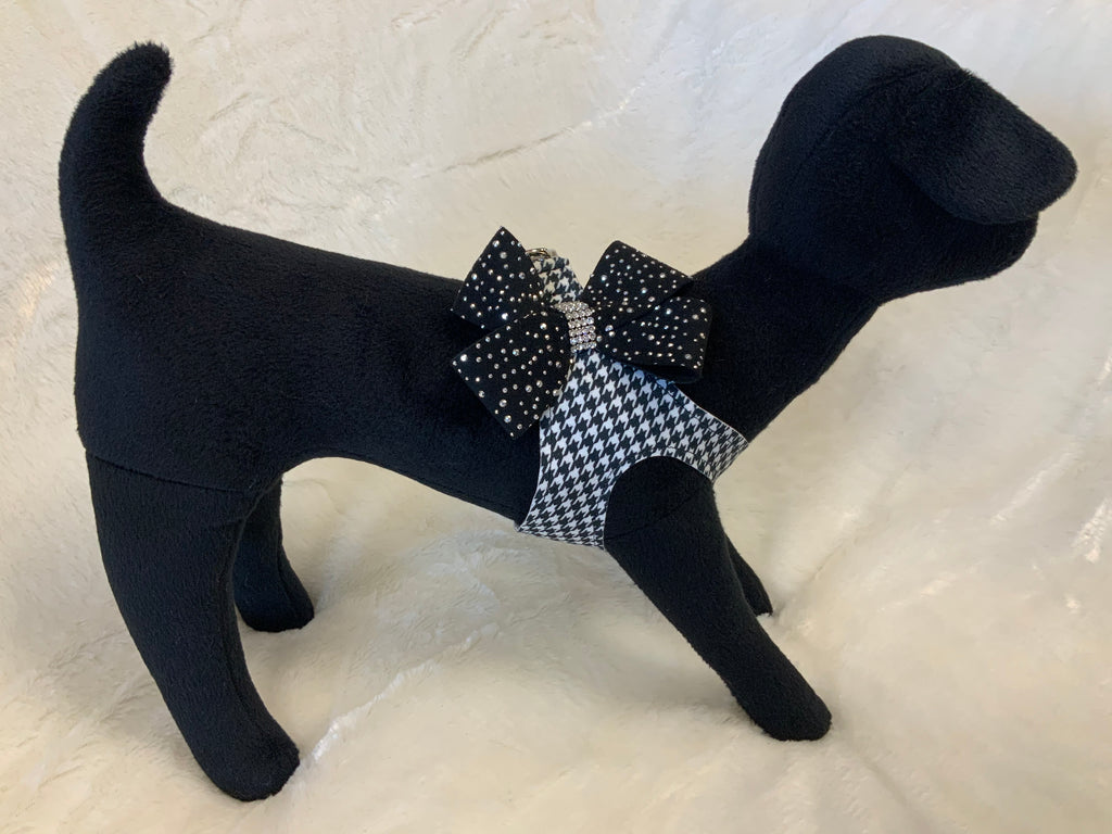 Blk/White Houndstooth Silver Stardust Nouveu Bow Step in Harness
