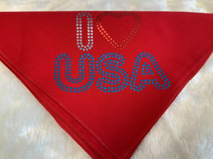 DOG IN THE CLOSET PATRIOTIC BANDANA I LOVE USA RED