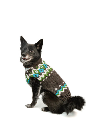 CHILLY DOG CHARCOAL FAIRISLE WOOL SWEATER