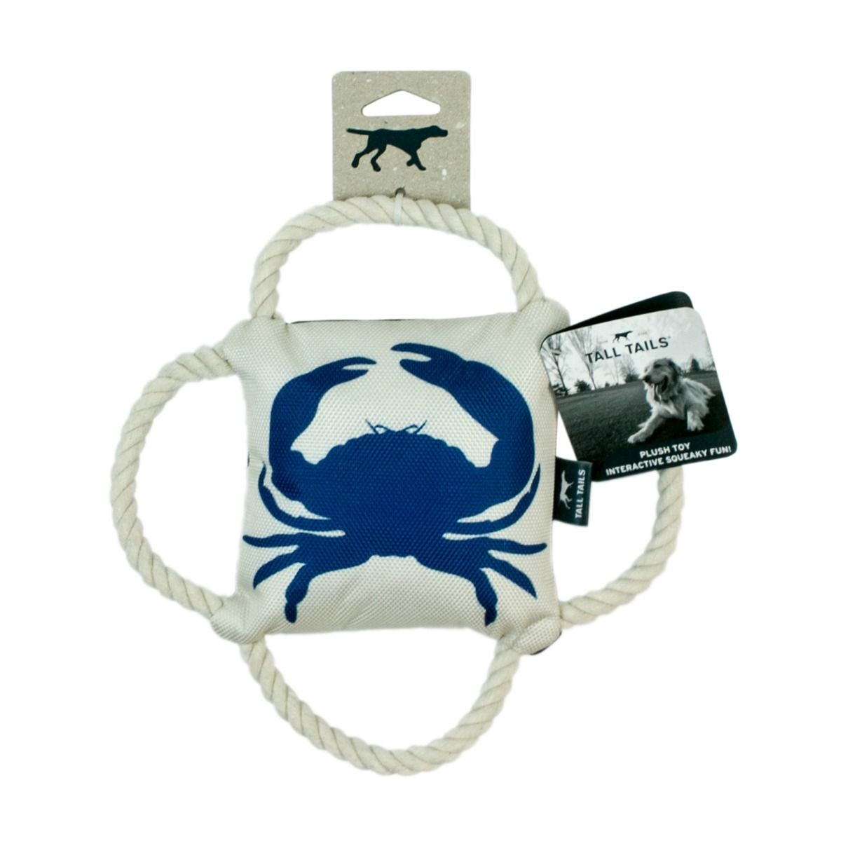 TALL TAILS 4 WAY TUG BLUE CRAB W/SQUEAKER 10""