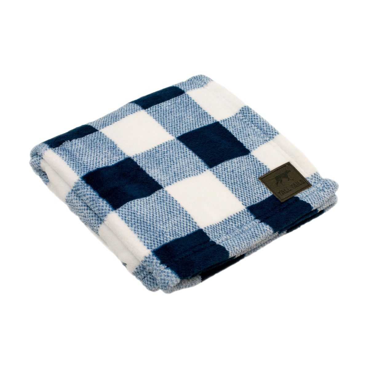 TALL TAILS CABLE NAVY PLAID BLANKET