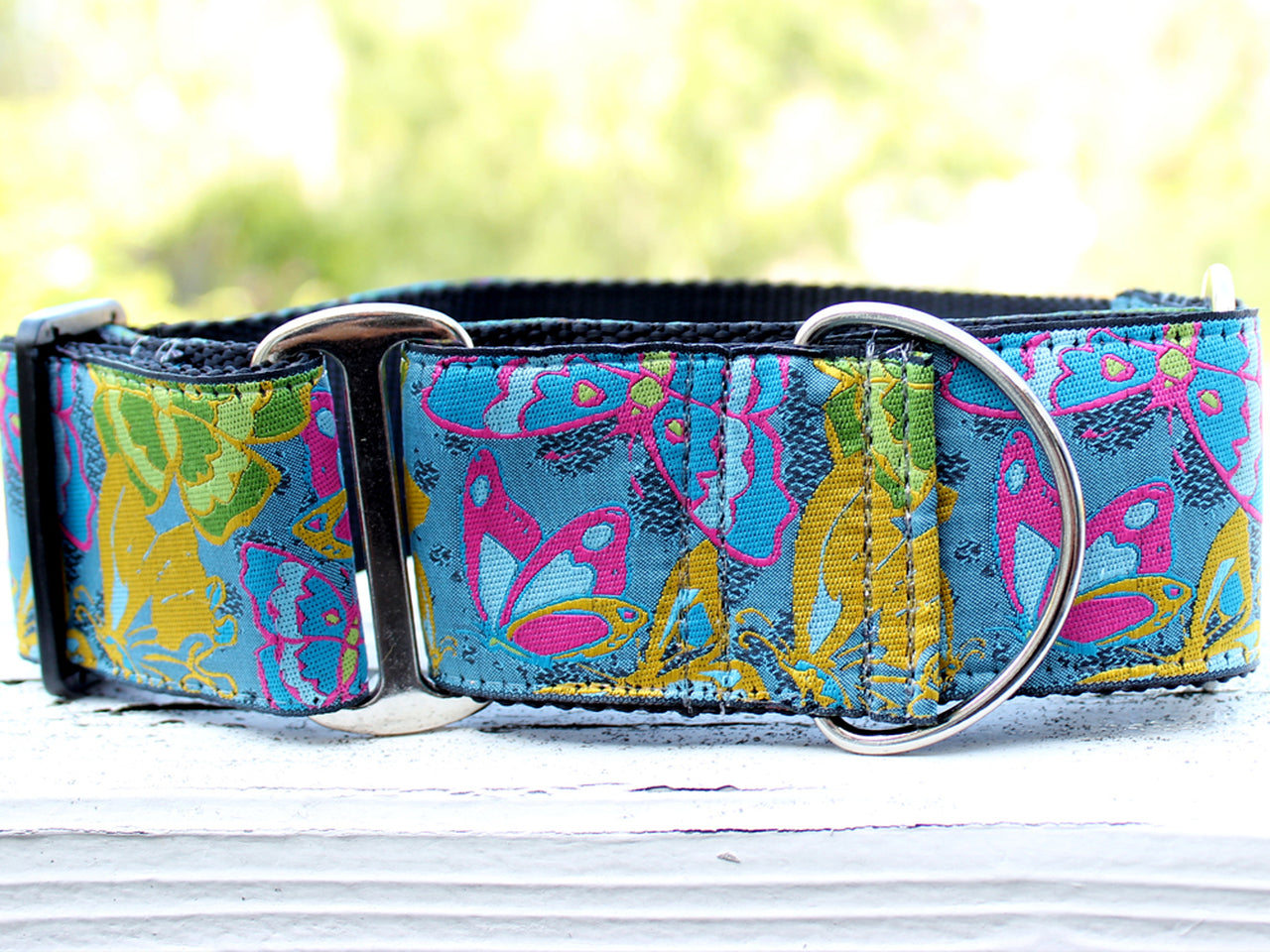 DIVA DOG BUTTERFLY GARDEN EXTRA WIDE MARTINGALE COLLAR