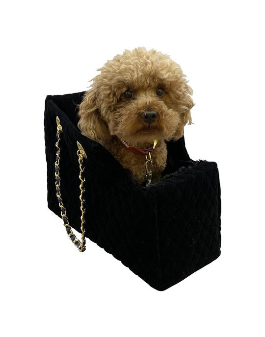 DOG SQUAD KATE QUILTED CARRIER BLACK VELVET