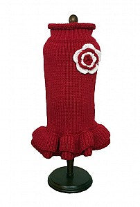 Dallas Dogs Red Ruffle Sweater Dress