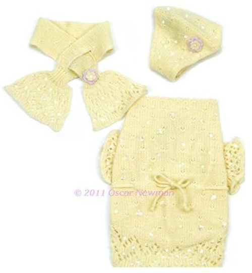 OSCAR NEWMAN BUTTERCUP BABY SWEATER WITH BEANIE & SCARF
