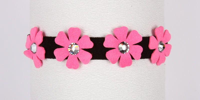 SUSAN LANCI PETUNIA COLLAR BLACK/PERFECT PINK