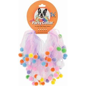 Party Collar-Violet/pink Party Pom Pom