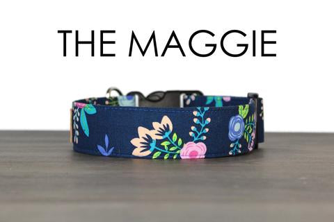 SO FETCH COLLAR THE MAGGIE NAVY BLUE RETRO FLOWER