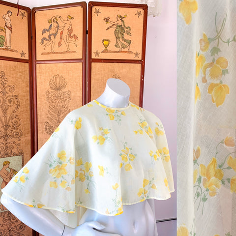 Pale Yellow 1970s Sheer Cape