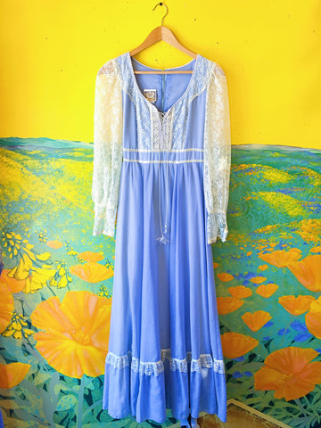 Powder Blue Lace Gunne Sax Long Sleeve Maxi Dress. Sold exclusively at Empress Vintage in Berkeley, CA.