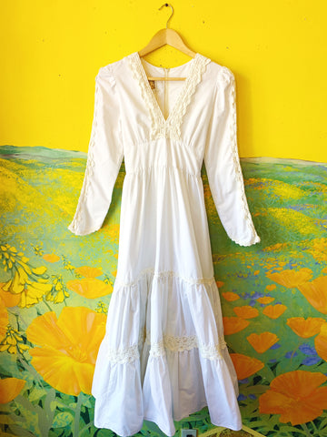 Cream Gunne Sax Maxi Prairie Dress. Sold exclusively at Empress Vintage in Berkeley, CA.