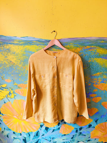 Giorgio Armani Mustard Linen Button Up Blouse. Sold exclusively at Empress Vintage in Berkeley, CA.