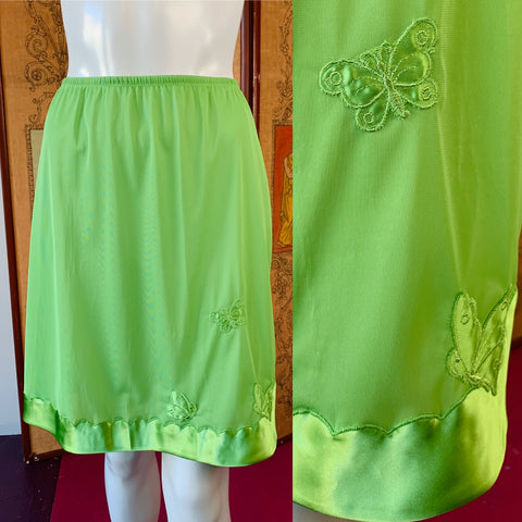 Chartreuse Nylon Half Slip with Butterfly Appliqués