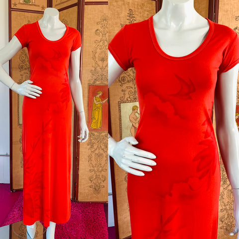 Red T-Shirt Maxi Dress with Bird Landscape Print