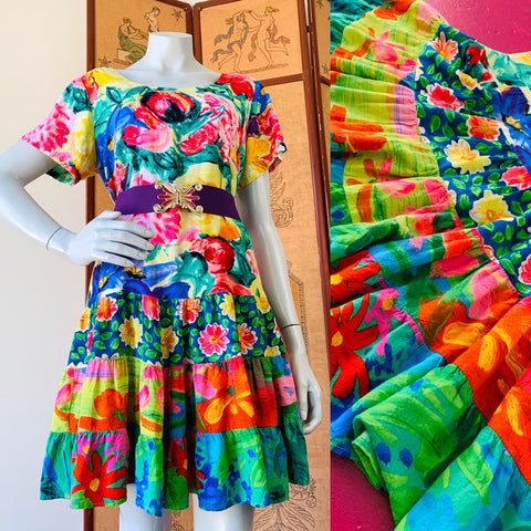 Jam's World 90s Babydoll Rainbow Floral Summer Dress