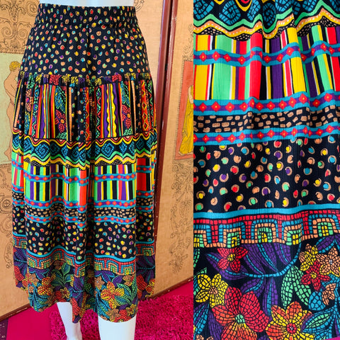 Colorful Wild Print Rayon High Waisted Skirt
