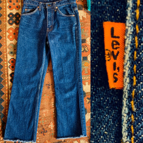 Orange Tab High Waisted Cut Off Levi's Jeans