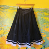 Midnight Blue Velvet Gunne Sax Skirt with Lace
