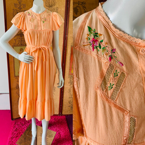 Boho hippie Indian cotton dream dress available now at Empress Vintage.