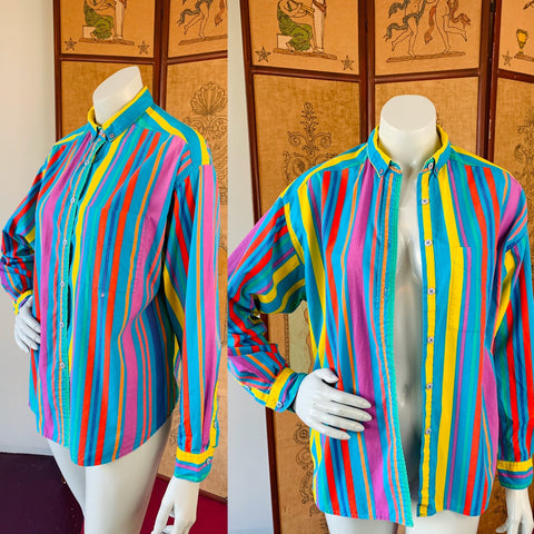 Striped Esprit Sport 90s Colorful Long Sleeve Button Up Shirt