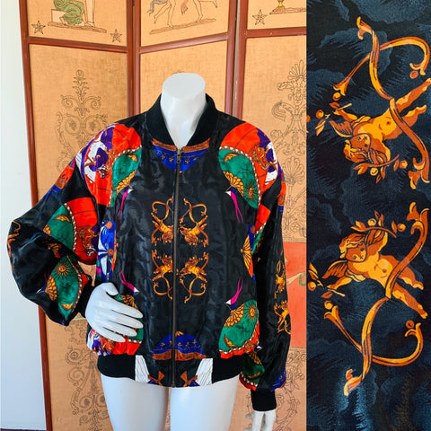 Hot Air Balloon Cherub Print 80s Jacket