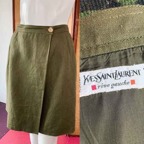 Yves Saint Laurent Rive Gauche Olive Linen Skirt with Pockets