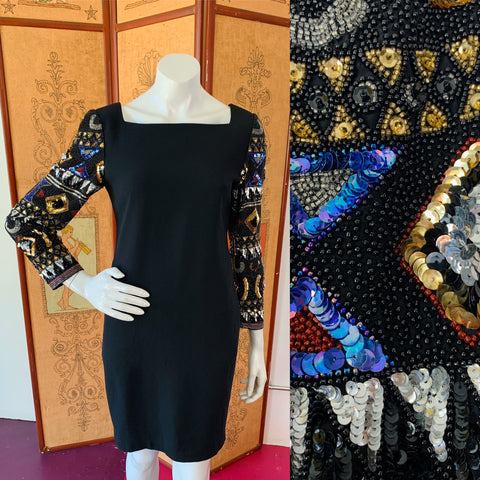 Black Party Dress with Sequin & Beaded Sleeves