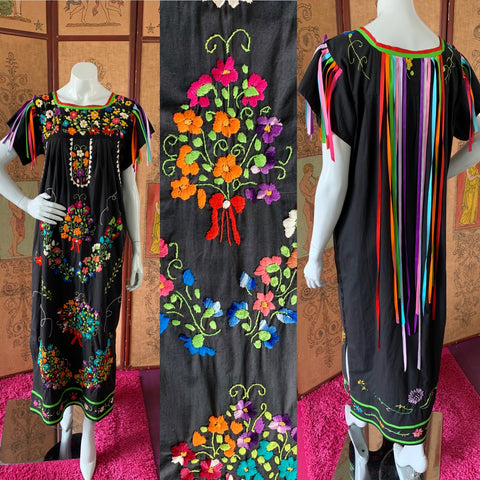 Mexican Embroidered Rainbow Ribbon Cotton Maxi Dress