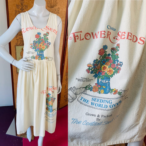 Cotton Flower Seed Sack Dress