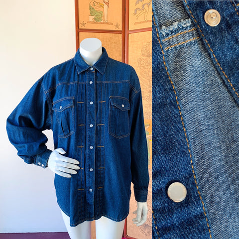 Denim Pearl Snap Long Sleeve Shirt