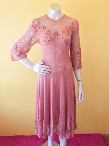Angelic Mauve Pink Lace Maxi Dress. Sold exclusively at Empress Vintage in Berkeley, CA.