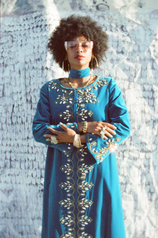 Bejeweled High Priestess Moroccan style 1960s velvet dream caftan.