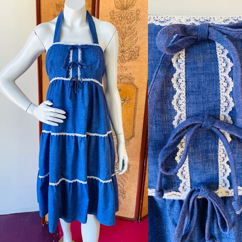 The perfect blue prairie vintage halter dress is available now.