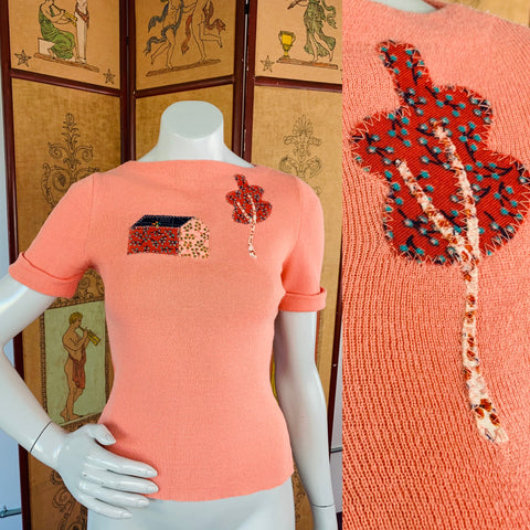 Peach 70s Folksy Knit T-Shirt