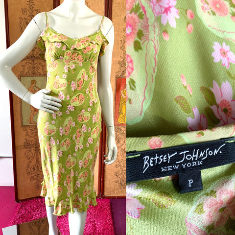 Sage Green Betsey Johnson 90s Pink Floral Satin Dress