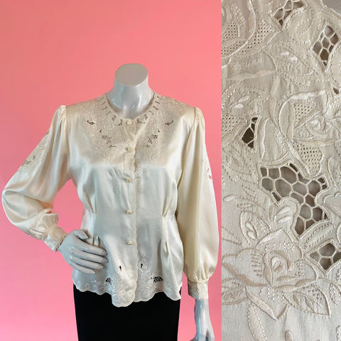 Pierre Cardin Creme Silk Cut Out Embroidered Blouse