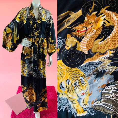 Japanese Tiger Dragon Gold Kimono Cotton Robe